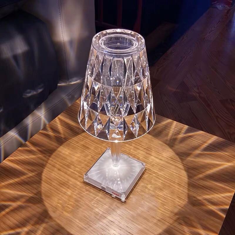 Nordic kartell Diamond Table Lamps Bedroom Bar Restaurant Charging Led Acrylic Desk Lamp Night Lights Bedside Light Fixtures