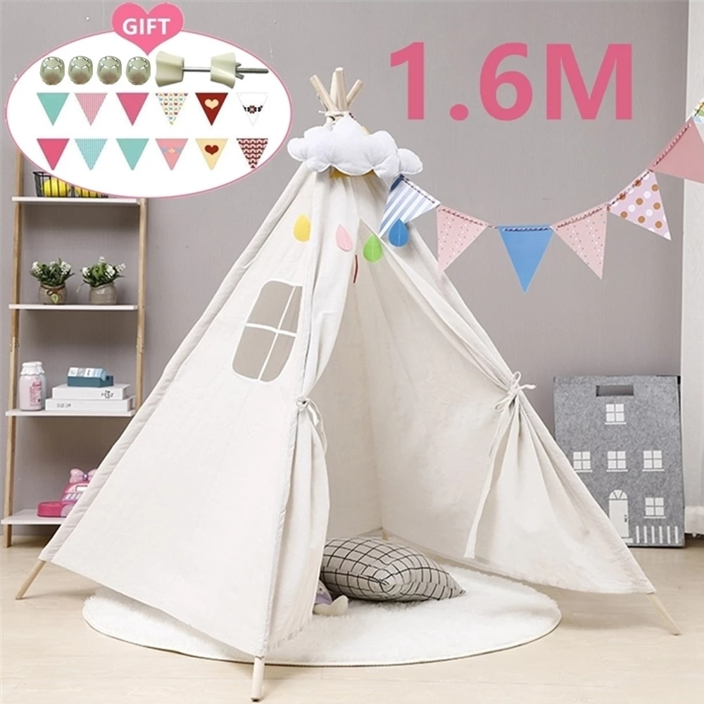 1.6M Play House For Children Tent Portable Kids Tent Cabana Tipi Infantil Baby Teepee Tents Castle LED Lights/Carpet/Decoration недорого