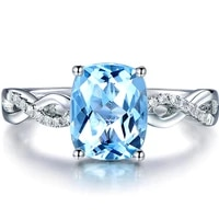 square aquamarine gemstones zircon diamonds rings for women blue crystal white gold silver color jewelry bague bijoux gifts