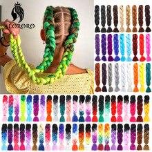 Extensiones de cabello trenzado Jumbo, pelo sintético verde de 24 pulgadas, Afro, azul, rosa, Morado, Rubio, degradado para trenzas, Alororo