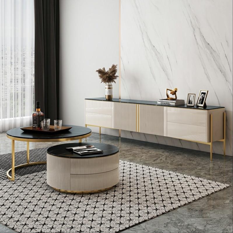 روك تلفزيون خزانة طاولة القهوة مجموعة مجموعة بسيطة صغيرة أثاث خزانة للغرفة المعيشة