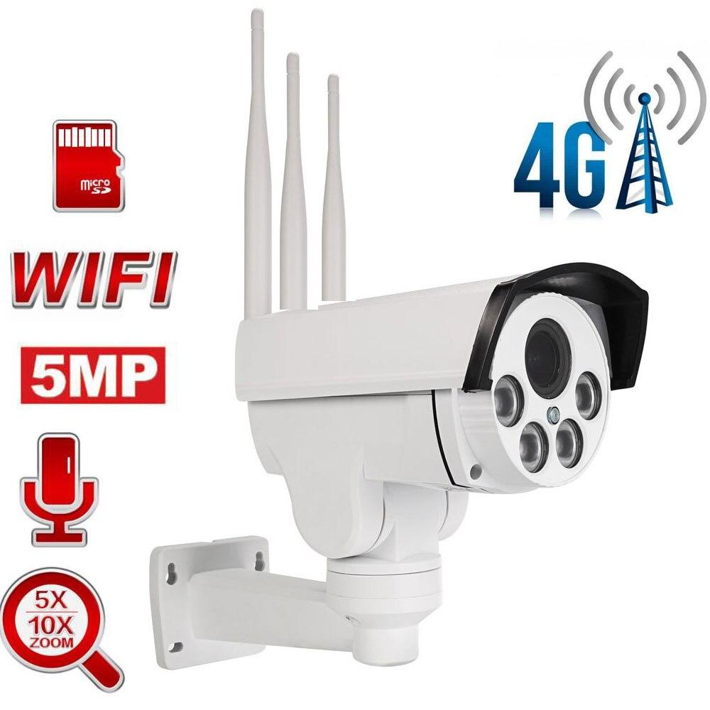 5MP tarjeta SIM 4G cámara PTZ con WiFi PTZ al aire libre Cámara bala HD inalámbrico IR 50M 5X/10X Zoom enfoque automático de cámara de seguridad CCTV