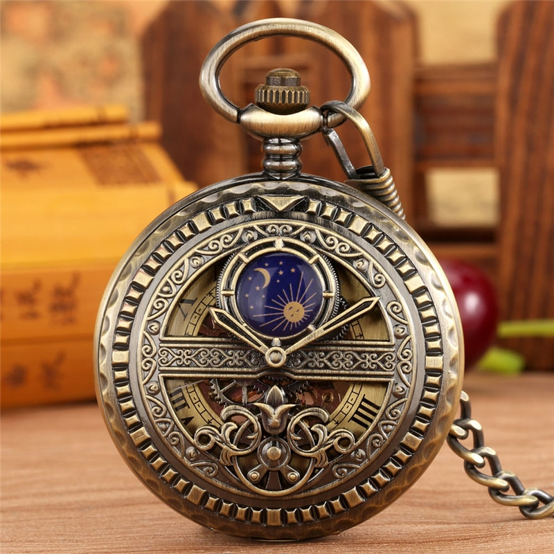 Ancient Classical Watches Unisex Mechanical Hand Winding Pocket Watch Roman Number Skeleton Timepiece Fob Chain Collectable Gift