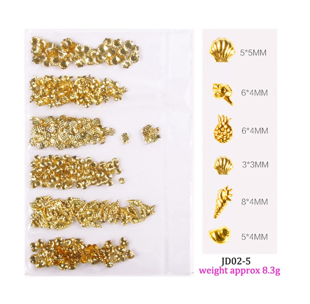 Купить с кэшбэком 6 Grid/Pack Mixed Size 3D DIY Hollow Metal Frames Nail Art Decorations 3-9mm Gold Silver Rivets Manicure Accessories Nail Decor