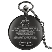 customized greeting words i love you to my dad theme mens quartz pocket watch souvenir gifts for father pendant chain reloj