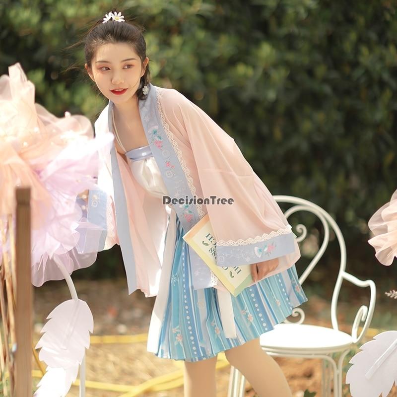 2021 الصينية القديمة التقليدية hanfu فستان النساء الفتيات مرحلة الأداء الشعبية ملابس رقص vintage زي ملابس الحفلات hanfu