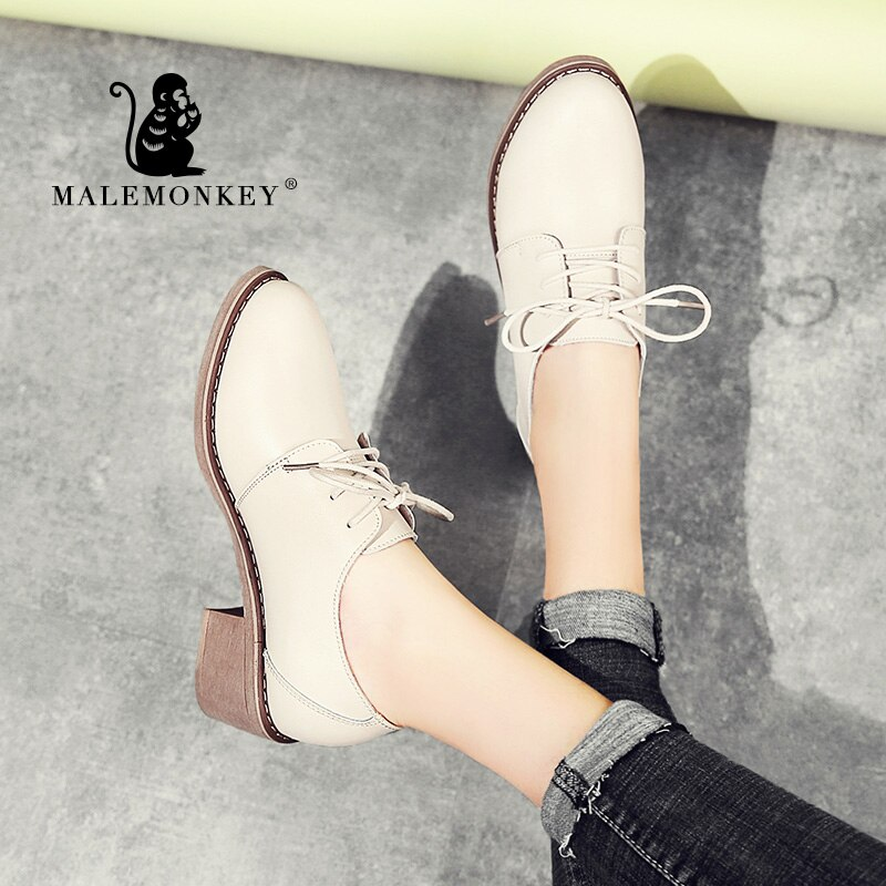 MALEMONKEY 1336, Zapatos de tacón Oxford, Zapatos de Mujer de cuero genuino para primavera Otoño, Zapatos de oficina clásicos para Mujer, Zapatos para Mujer