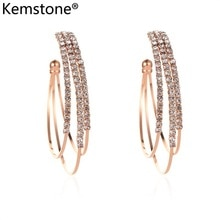 Kemstone multi-couche cubique zircone Hyperbole cuivre Rose or argent plaqué femme boucles doreilles femmes bijoux