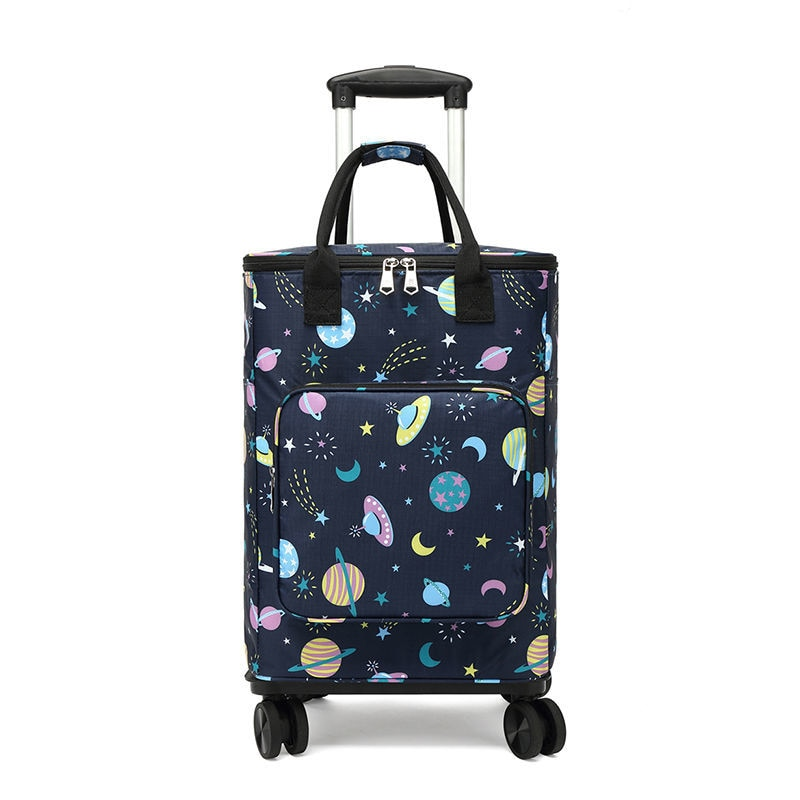 Small cart Foldable Shopping Bag Waterproof Handbag with Wheels Big Capacity Grocery Shopping Cart Rolling Trolley Bag For Women