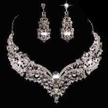 Conjunto de jóias de cristal strass colar brinco conjunto para casamento nupcial festa formal formatura feminino