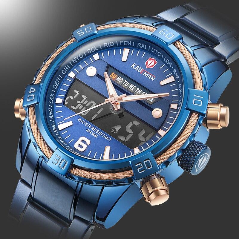 Bleu charme hommes sport Quartz montre hommes multifonction étanche lumineux montre-bracelet hommes double affichage horloge Horloges Mannen 2020