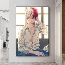 Affiche de peinture en toile avec Anime Boku No My Hero Academia Todoroki Shouto, tableau dart mural imprimé pour décor de salon