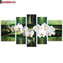 Diamant peinture murale art, 5 pièces blanc orchidée fleurs diamant broderie multi-image murale mosaïque photo