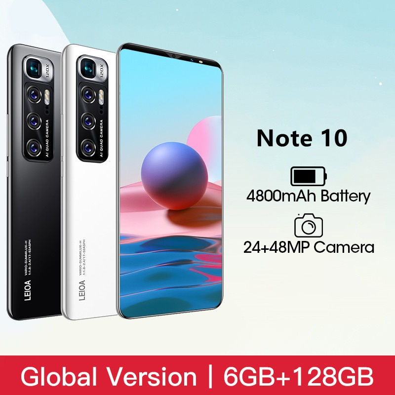 Cell Phone Note 10 Android Smart Phone 6GB RAM 128GB ROM Telephone 4800mAh Battery 6.1 inch 4G 5G Gl