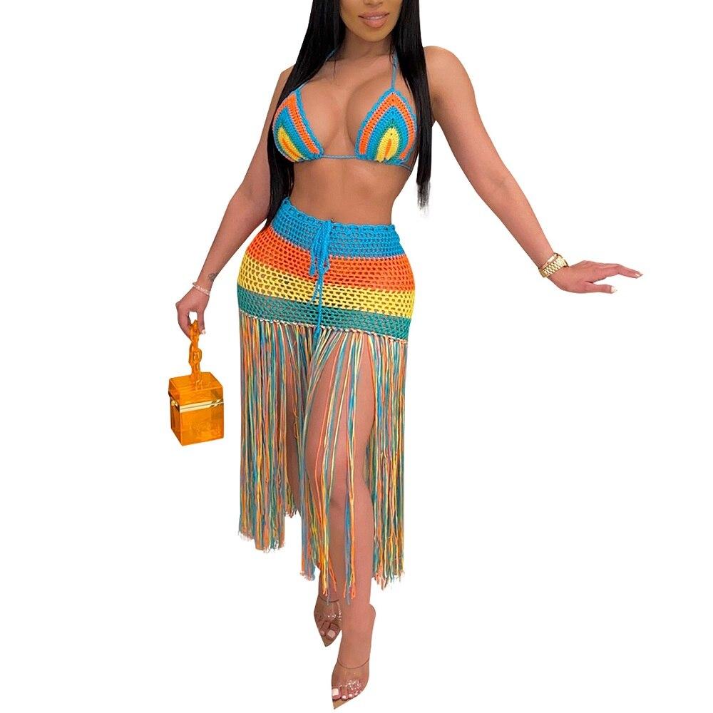 Women Bikini Cover Set Striped Crochet Deep V-neck Lace-up Bikini+Hollow Out Skirt with Long Tassels Free shipping
