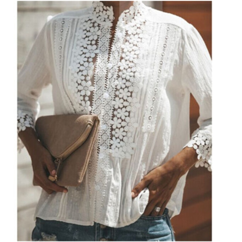 Solide Weiß Frauen Langarm Blusen Tops Frauen Aushöhlen Floral Spitze Shirt Elegantes Hemd Dame Kleidung 2019 Party Casual tops