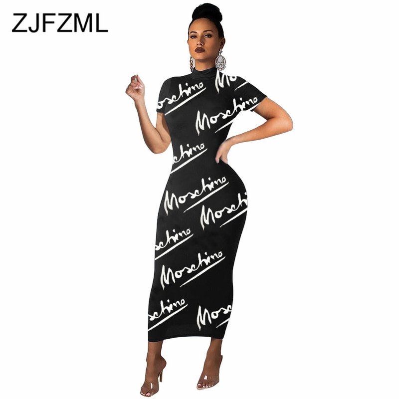 Letter Print Sexy Long Bandage Dress Women Short Sleeve High Waisted Bodycon Dress 2020 Summer Plus Size Skinny Club Dresses