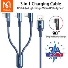 Mcdodo 3 в 1 USB кабель Micro USB Type C кабель 3A Быстрая зарядка для iPhone 12 11 X Pro Huawei Xiaomi Samsung зарядный кабель для передачи данных