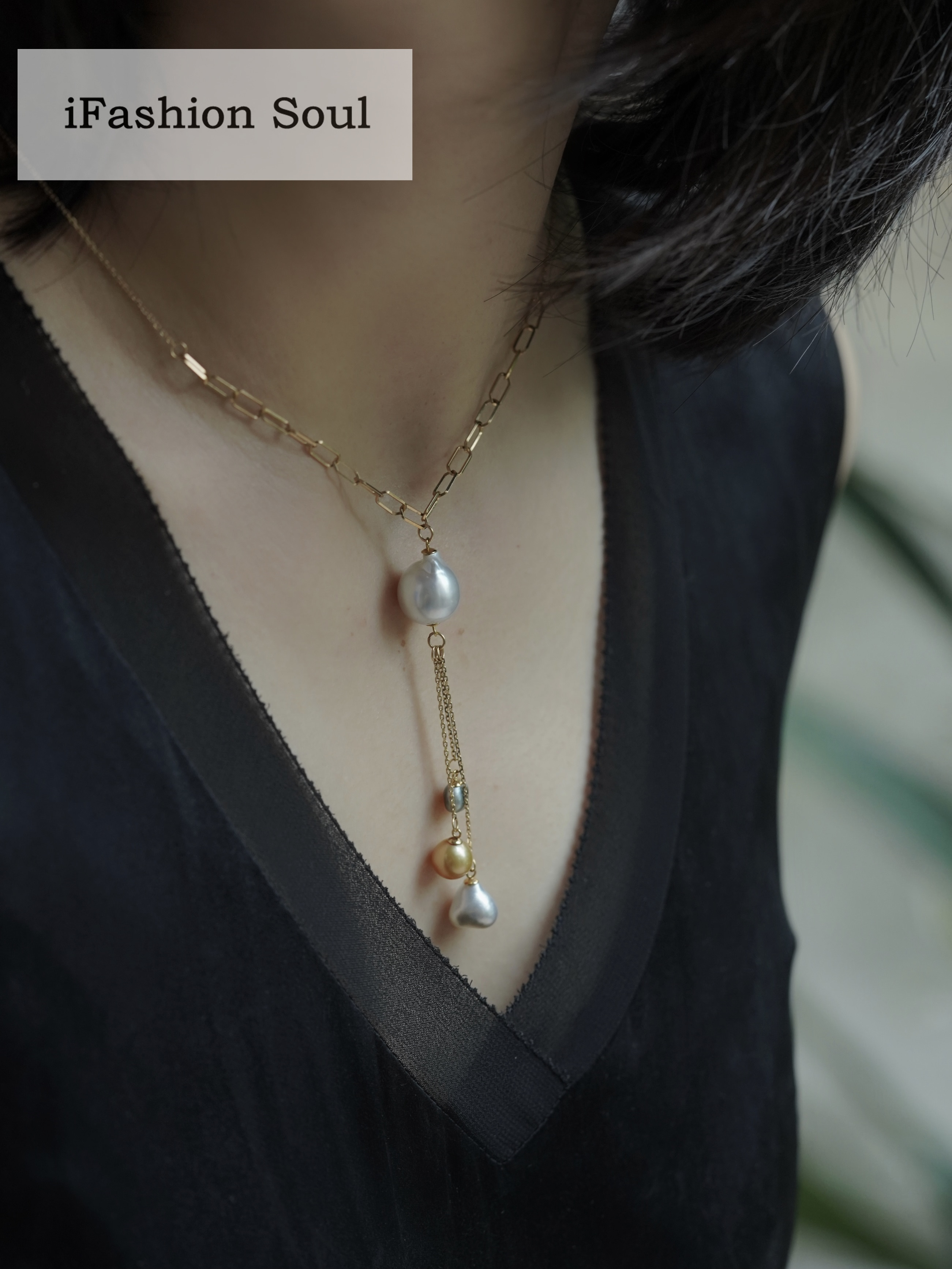 18K Solid Yellow Gold Jewelry(AU750) Women Long Pendant Advanced Chain Natural South Sea Pearl Baroque Pearl Necklace Fashion