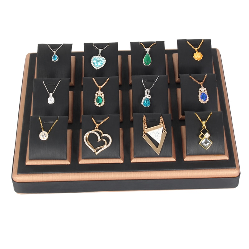 Wholesale high-grade PU leather jewelry necklace pendant chain storage box tray jewelry display stand multi-specification