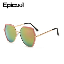 Epicool Pilot Sunglasses Women Irregular Shape Mirror Sun Glasses Men Alloy Frame Fashion Sunglasses