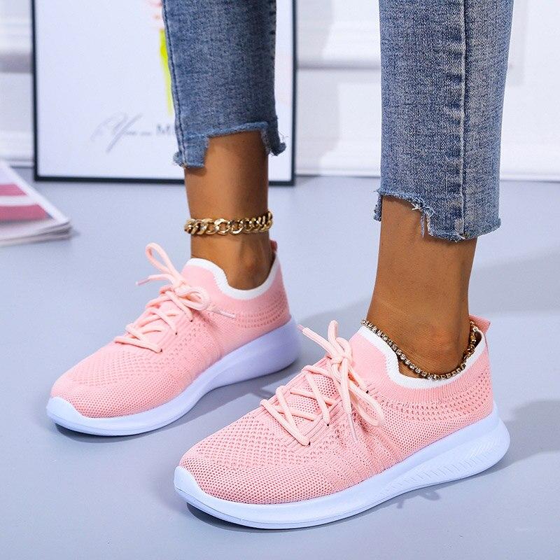 Rendas até Sapatos de Moda Tênis Feminino Casual Plana Respirável Ladis Cor Sólida Malha Feminina Tamanho Grande Comfortbale 2021 Luz
