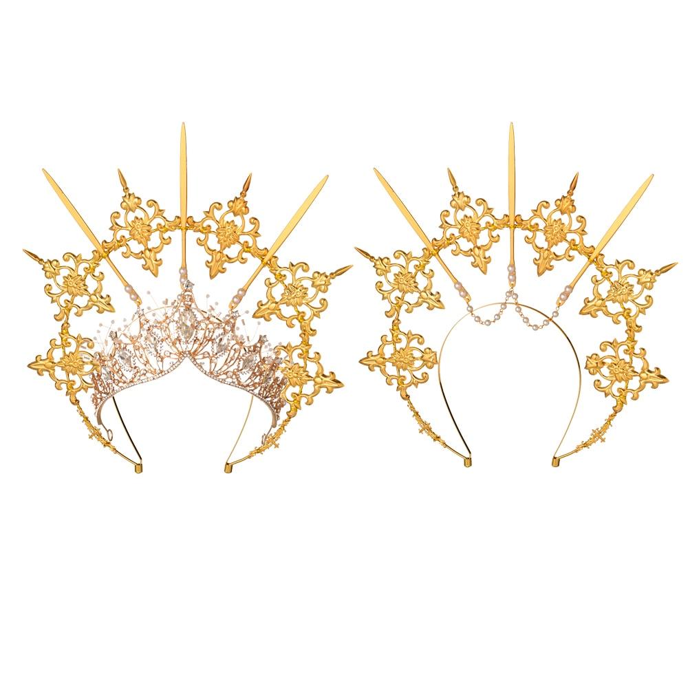 تاج عقال ذهبي اللون ، تاج ملاك ، هالو إلهة ، غطاء رأس لوليتا ، عتيق ، KC ، على الطراز الباروكي