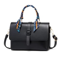 soft leather small shoulder messenger tote bags for women high quality scarf handle luxury brand lady handbags black girls flap