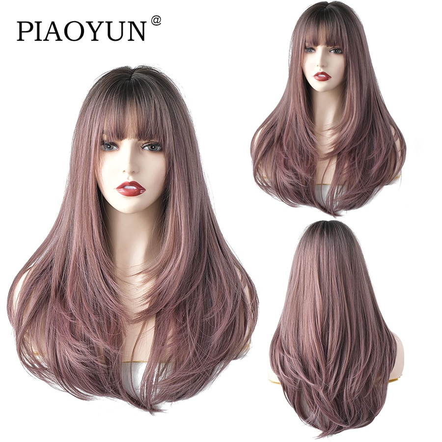 Pink Brown Long Straight Hair Black Top Daily Wig AA Grade Synthetic Wig For Women Hot Selling European And American Wig