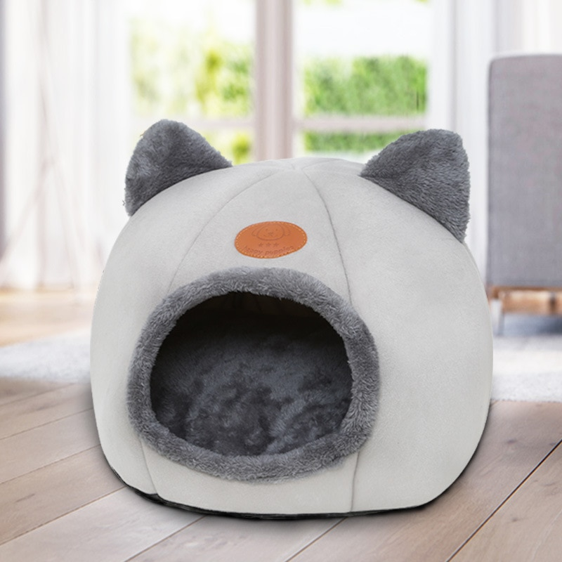 Pet Dog Cat Tent House Kennel Winter Warm Nest Soft Foldable Sleeping Pad Animal Puppy Cave Sleeping Mat Fleece House