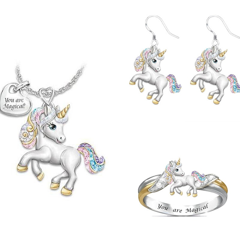 AliExpress - 1/2/3pcs Cute Rainbow Unicorn Jewelry Set Silver Color Children's Necklace Ring Jewelry Set Cartoon Animal Jewelry Birthday Gift