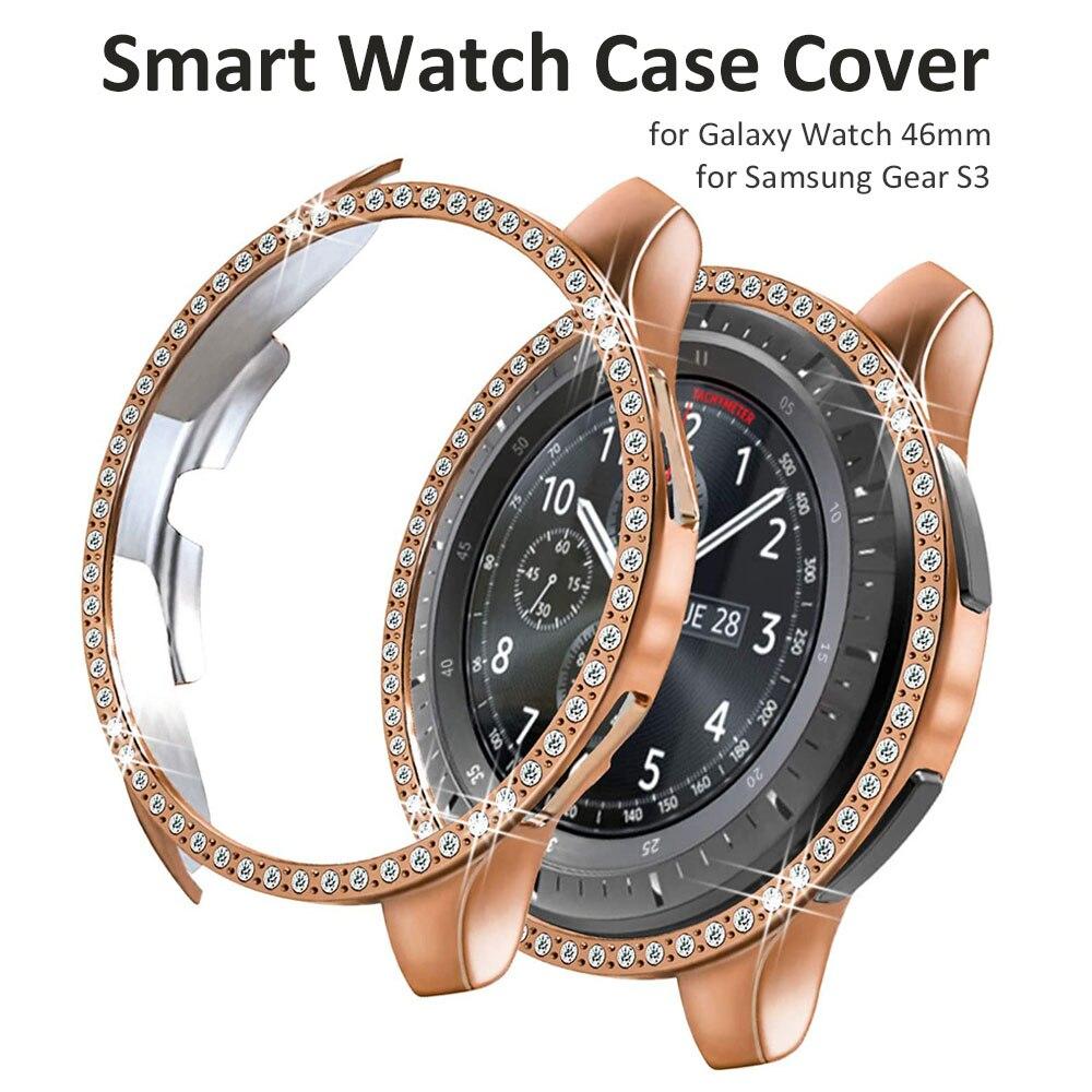 Funda de diamante para Samsung Galaxy Watch 46mm/Gear S3 Frontier, funda para reloj inteligente, Marco ostentoso de cristal con diamantes de imitación brillantes para mujer y chica
