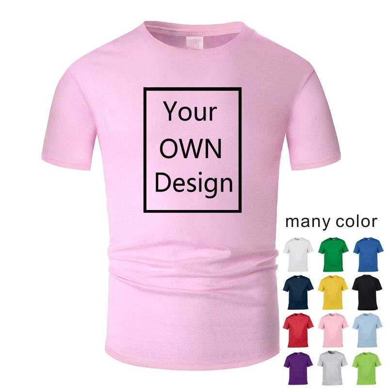 Camiseta de algodón DIY con logotipo de tu propia marca con imagen personalizada para hombre y mujer, camiseta informal de manga corta, camiseta en 13 colores