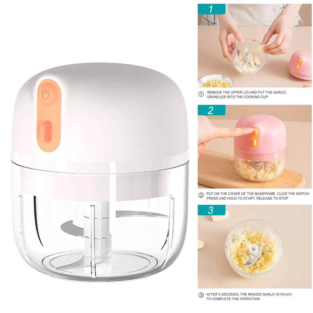 Kitchen Tools Electric Mini Garlic Chopper Salad Fruits Wireless Vegetables Powerful Food Grinding Onions Portable 3 Blades