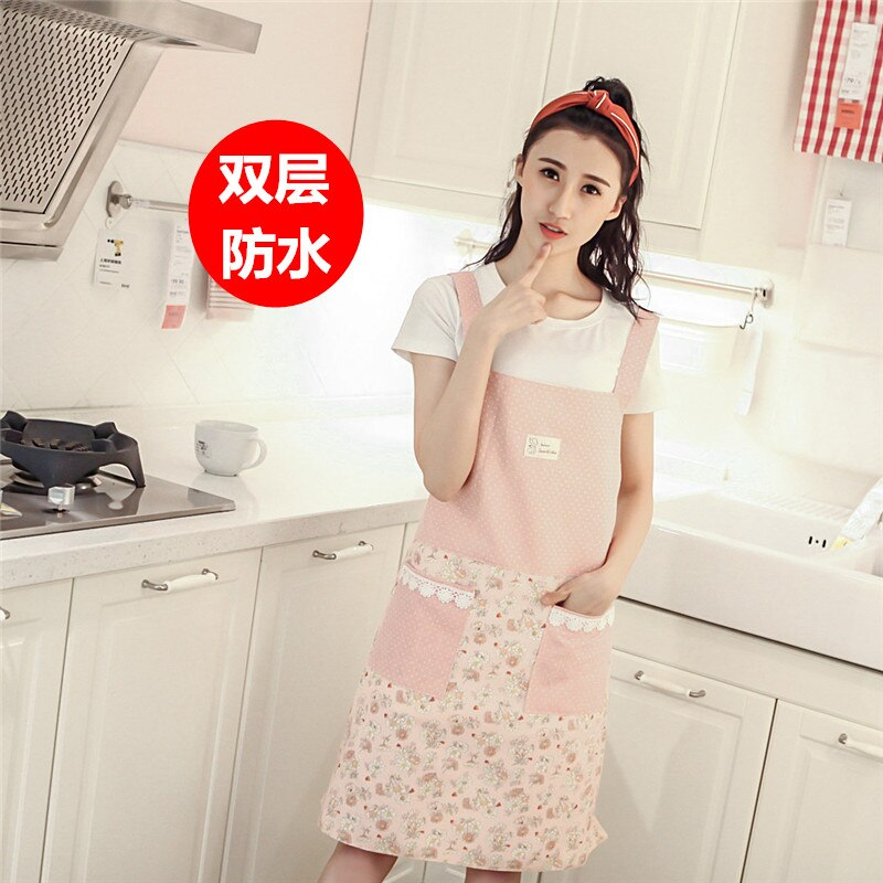 Versión coreana delantal a la moda de doble cubierta impermeable a prueba de aceite de cocina restaurante leche de uñas té salón de belleza ropa de trabajo
