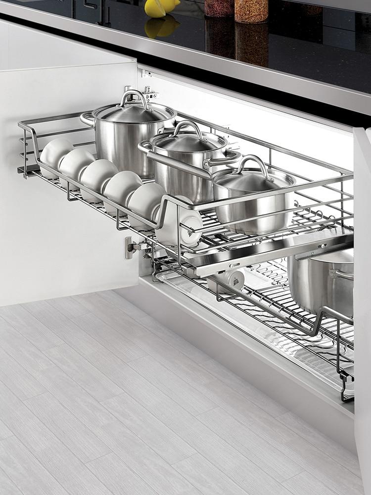 سلة المطبخ طبقة مزدوجة درج من نوع المدمج في خزانة وعاء رف وعاء تخزين التوابل سلة أربعة جوانب طبق سلة