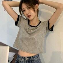 T-shirt Girl Open Navel Top Tshirt Summer 2021 New Color Contrast Slim Short Design Careful Machine
