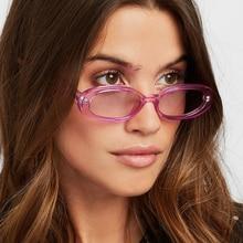 XaYbZc Pink Retro Sunglasses Oval Sunglasses Women Retro Brand Designer Vintage Ladies Cat Eye Pink