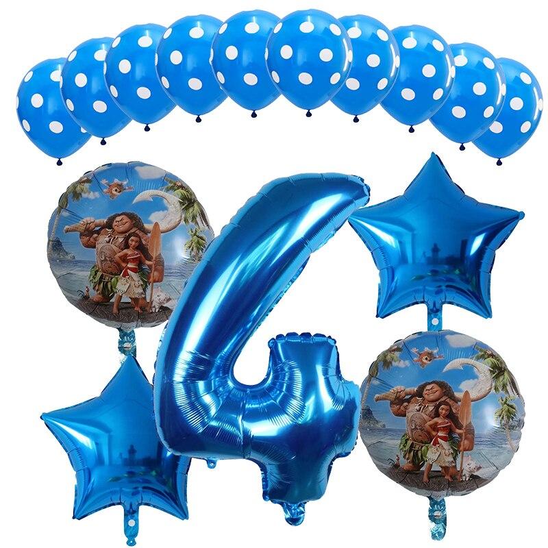15 unids/lote Moana globos 30 pulgadas azul número globo temática Moana cumpleaños fiesta juguetes de decoración para niños aire globo niñas niño regalos