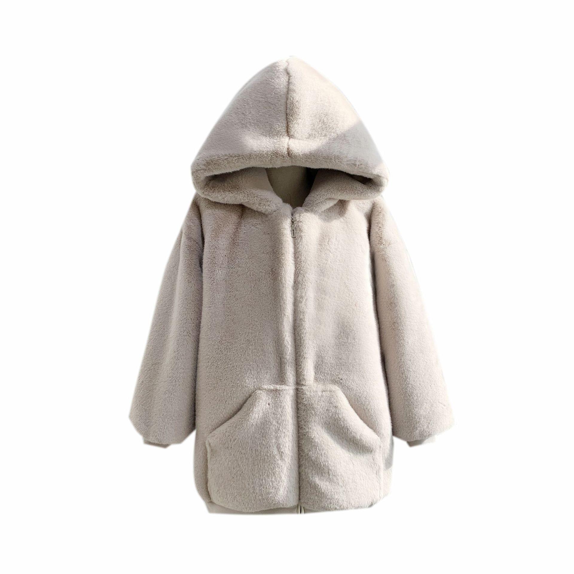 Фото - Модное плюшевое пальто, Женское зимнее пальто средней длины из искусственного меха кролика Рекс, Свободное пальто с капюшоном, новинка 2021 пальто средней длины с капюшоном