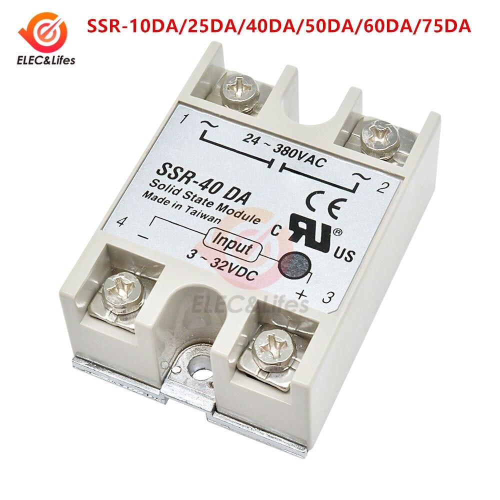 Relé de estado sólido SSR-10DA/25da/40da/50da/60da/75da c.c. controle 3-32v a 24-380v ac ssr relé de estado sólido monofásico 25/40/60a