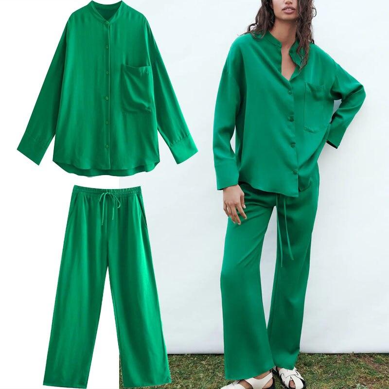P.Q.CHEN 2021 الأخضر عالية الخصر السراويل النساء قابل للتعديل مرونة الرباط الخصر Vintage بنطلون امرأة عادية بنطال ذو قصة أرجل واسعة