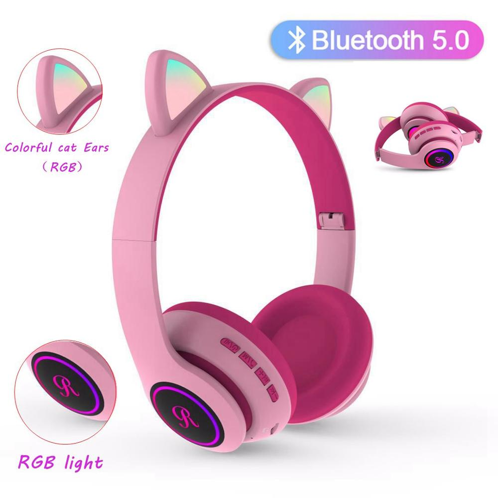 Cat Ear Wireless Earphones With Mic LED Hifi Music Stereo Bass Bluetooth Headphones Mobile Phone Gir