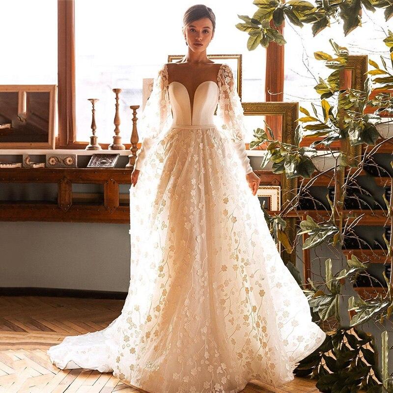 Elegant Wedding Dress Long Sleeve Lace Bridal Dresses 2021 A Line Sheer Back Buttons Vintage Wedding Gowns Vestido de Noiva