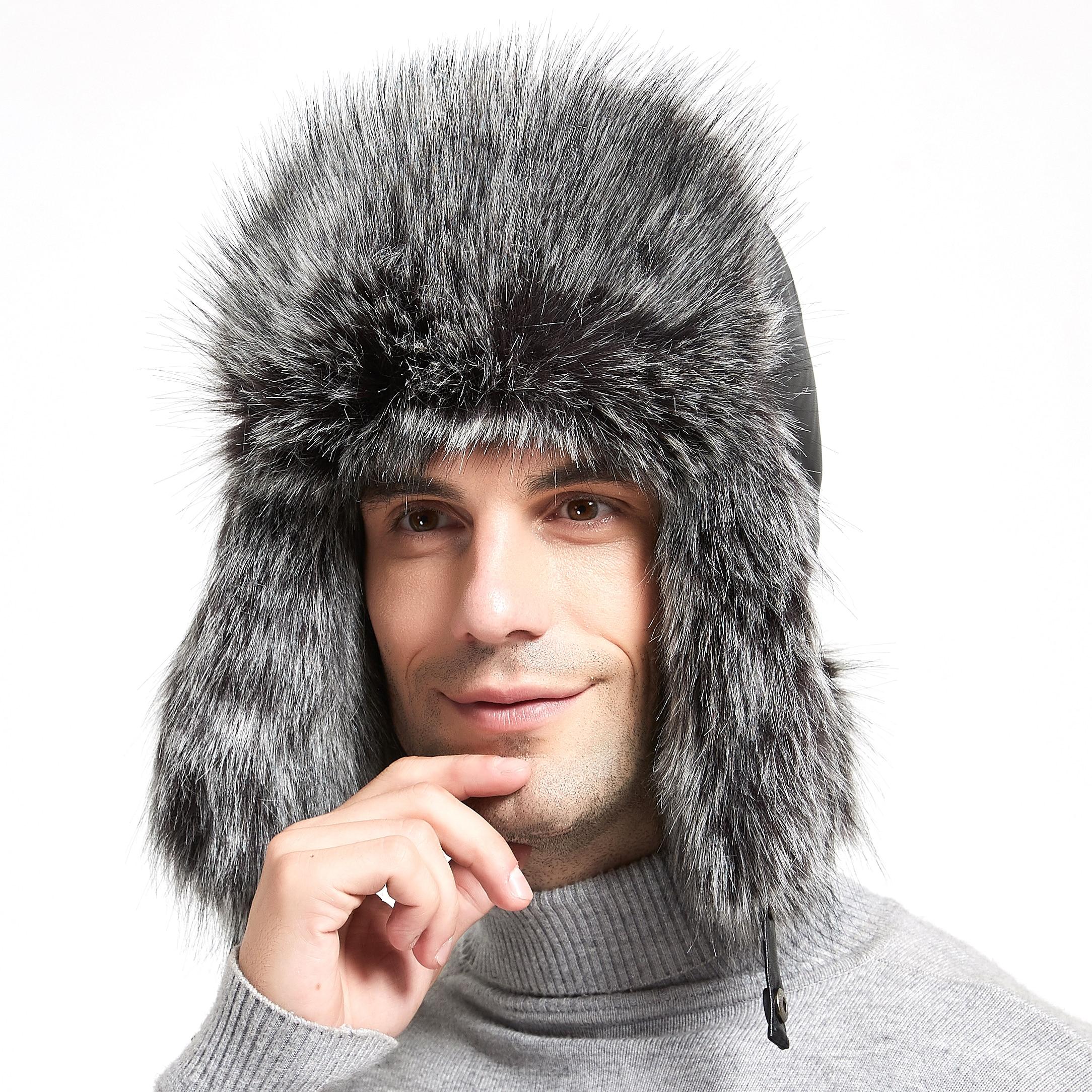 Шапка-ушанка мужская зимняя шапка-авиатор Русский бом�