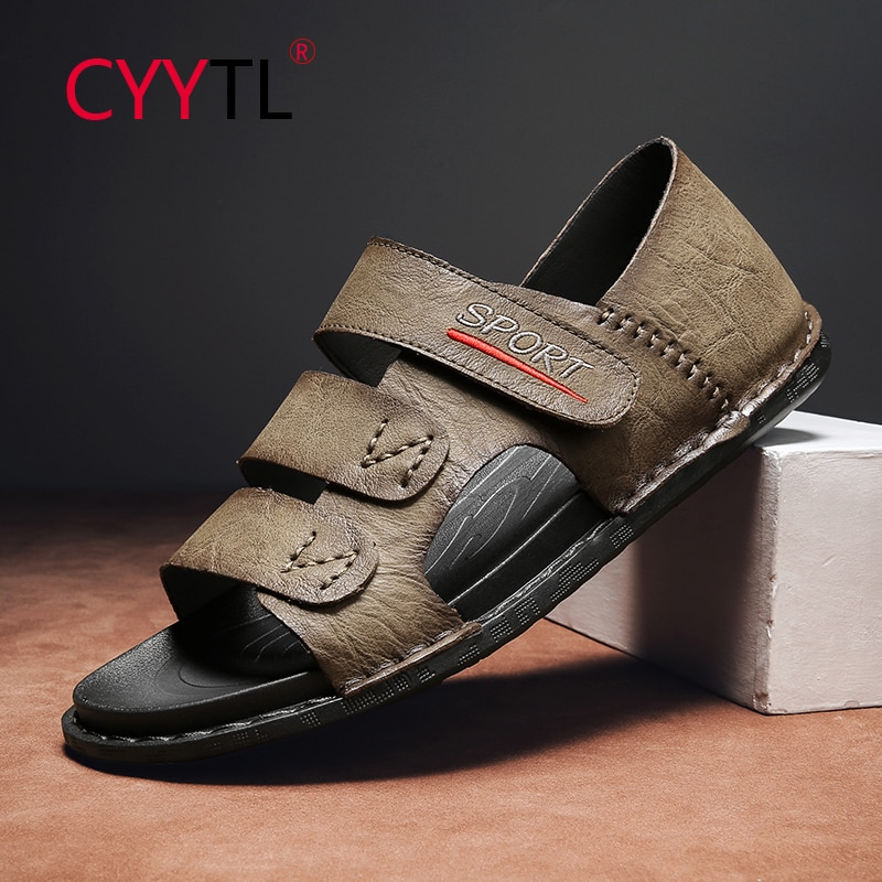 CYYTL Men Summer Open Toe Sandals Strap Breathable Outdoor Beach Travel Slippers Hand Stitching Soft Leather Shoes Claquette
