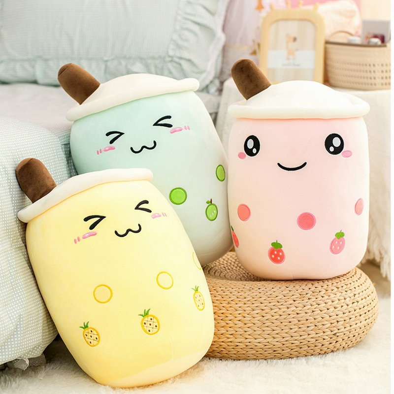 cute soft cartoon bubble tea cup plush toys filled with fashionable drinks pillow straw cute cushion milk tea cup pillow plush Soft Cartoon Bubble Tea Cup Plush Toys Cute Stuffed Fashion Drink Pillow with Suction Tube Adorable Back Cushion Funny Boba Food