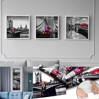 3 panels canvas unframed canvas painting poster black and white red bus wall pictures for living room home decor