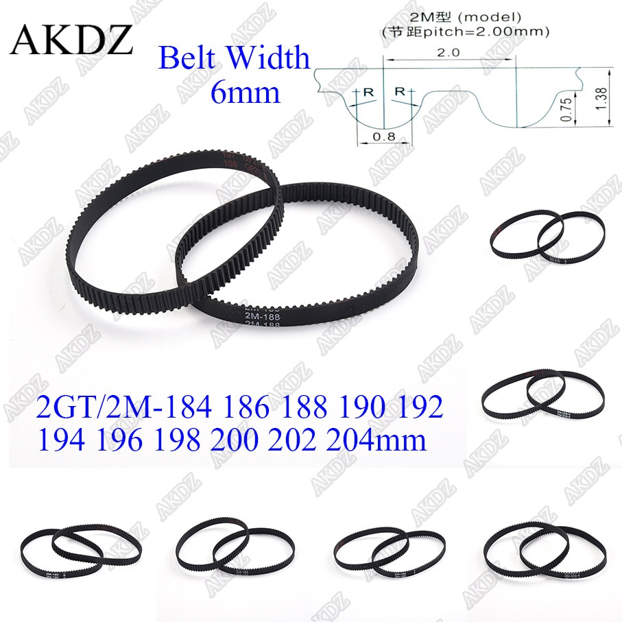 2mgt 2m 2gt synchronous timing belt pitch length 162 164 166 168 170 172 174 176 178 180 182 width 6mm rubber closed 2MGT 2M 2GT Synchronous Timing belt Pitch length 184 186 188 190 192 194 196 198 200 202 204 width 6mm  Rubber closed