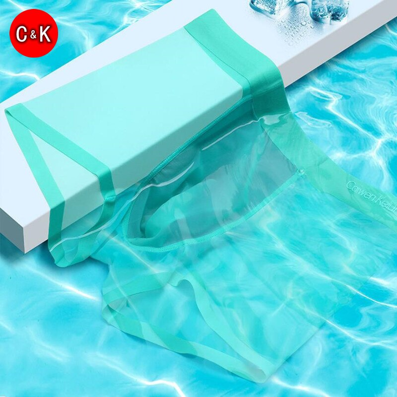 CK 4Pcs Men's Ice Silk Underwear Ultra-thin Seamless Men Boxer Summer Cool Breathable Antibacterial